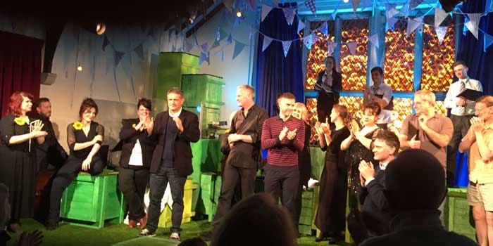 Gary Barlow on stage at Burnsall Village Hall.  Click for more